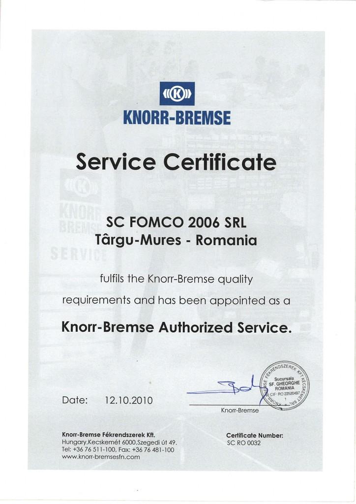 Certificat Knorr-Bremse