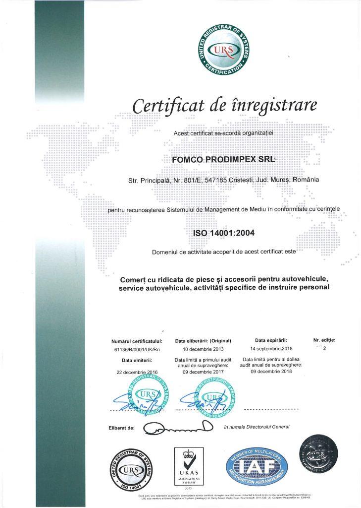 Certificat ISO 14 001 Prodimpex recunoasterea calitatii