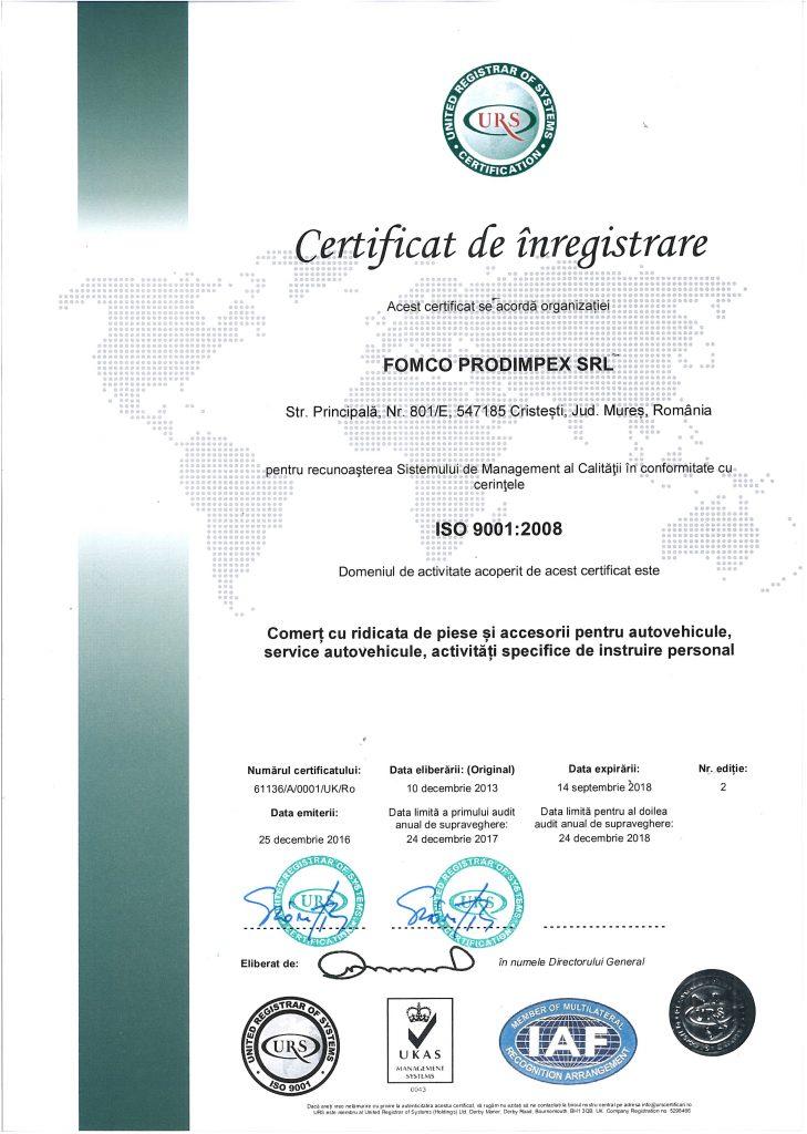 Certificat ISO 9001 Prodimpex